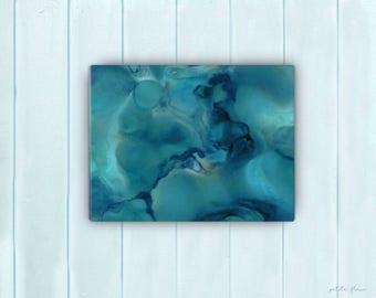 Watercolor Ocean Painting Abstract Canvas Print - Aqua Teal Blue Sea Coastal Beach Giclee Art Print -8x10/11x14/12x16/16x20 - French Riviera