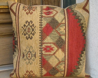 Southwestern Pillow Cover, 16 x16 to 24 x 24.  Soft rich and sturdy high grade upholstery fabric.  Colors of the Taos Mesa