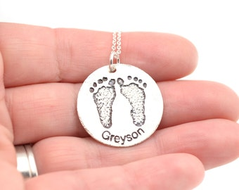 Footprint Necklace | Baby Print Pendant | Gift for Parent | Mother's Necklace | Gift for Dad | Custom Print Necklace |Baby Footprint Memento