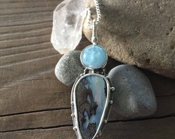 Aquamarine and Opal pendant