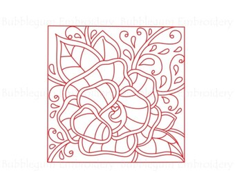 Redwork Rose Blocks Embroidery Designs 4x4 Instant Download