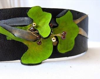 Leather bracelet. Ginkgo leaves leather cuff bracelet.