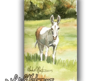 Donkey Art  Pastorial LLMartin Original Watercolor Painting- Virginia Country