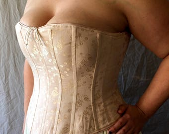 Plus Size Curvy Victorian Corset Overbust c.1860 in brocade, satin coutil, hourglass historical costume undergarment cosplay  bridal wedding