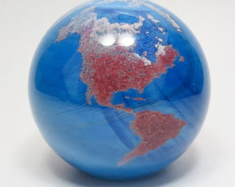 Vintage Signed James Lundberg 3.5 Inch World Globe Art Glass Paperweight, Lundberg World Globe Paperweight, Lundberg Studios Art Glass Globe