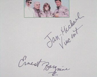 Airwolf Signed TV Script Screenplay X2 Autographs Jan-Michael Vincent Ernest Borgnine signature classic tv show helocopter