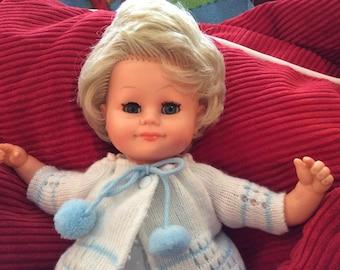 "SALE.....Rare Maunkeline MMM Marr-Sohn Baby Doll, made in W. Germany, Vinyl and Cloth, Blonde hair and sleepy Blue Eyes, 1960s , 13"""