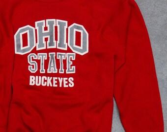 Vintage Ohio State Sweatshirt Buckeyes Sweatshirt OSU | VTG Fleece Size LARGE Bucks Columbus Ohio Scarlet & Gray Red | 7U