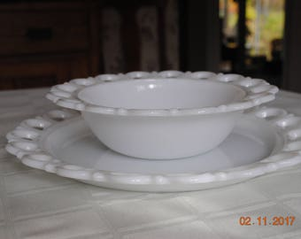 Anchor Hocking Old Colony Lace Edge or Open Lace Milk Glass Torte Plate Bowl