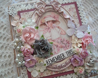 Shabby Chic Scrapbook Premade  Interactive Mini Album using Maja Designs,  Prima Marketing & ReneaBouquets