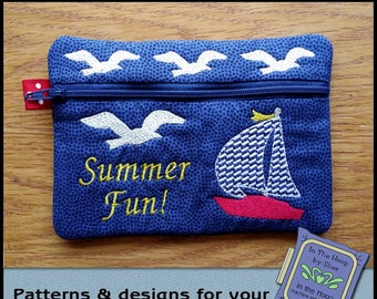 ITH Sailboat Zipper Bag - Fully Lined - In The Hoop Zipper Bag - Boat Zipper Bag - Embroidery Design - 5 x 7 Hoop