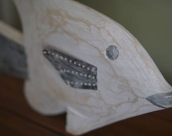 Sweet Hand Carved Wooden Fish With Tin Fins!