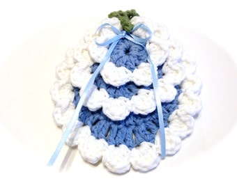 Light Blue And White Face Scrubbies And Make-Up Remover Set