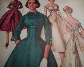 Vintage 1950's Simplicity 1776 Dress Sewing Pattern Size 16 Bust 36