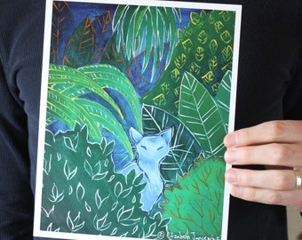 White Cat Surrounded by Plants; Fine Art Print