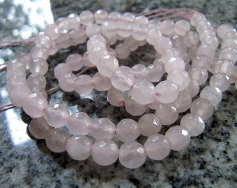 6mm JADE Beads in Palest Pink, Faceted, Round, Full Strand, 63 Pcs, Gemstones, Pink Stone Beads