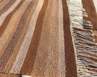 """Paco-Vicuna Wool, Handwoven Rug 36"""" x 51"""" - Brown & Gray Medley Stripes w/Fringe"""
