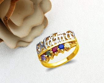 Mother's Day Gift 14K Real Solid Gold Moma Ring With Amethyst Emerald Ruby Blue  Citrine CZ Band Size 5 to 9