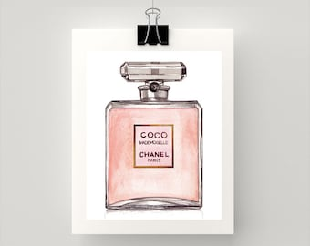 Print of COCO MADEMOISELLE perfume. Print of my original watercolour