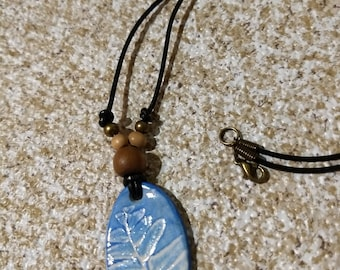 Leaf imprint necklace - blue fern