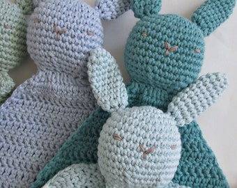 Organic Cotton Bunny Lovey Baby Toy, Crocheted ∙ Security Blanket ∙ Baby Shower Gift