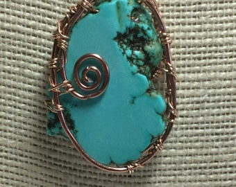 Turquoise wire wrapped pendant