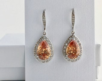 Champagne Crystal Earrings Champagne Cubic Zirconia Earrings Peach Wedding Earrings Champagne Drop Earrings Champagne Bridesmaid Jewelry