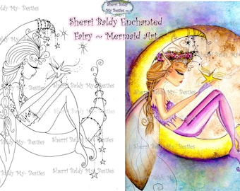 INSTANT DOWNLOAD Digital Digi Stamps Big Eye Big Head Dolls Wish Upon A Star Img074 By Sherri Baldy