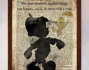Pinocchio Disney Printable, Pinocchio Wall Art, Pinocchio Book Page Print, Pinocchio Digital Art, Pinocchio Poster, Pinocchio Nursery