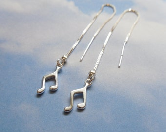Tiny Music Notes sterling silver threader earrings - long dangly delicate - ear threads for music lovers - free shipping USA