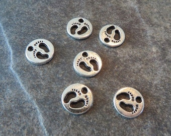 10 Mini Round Charms with BABY FOOTPRINTS Silver Tone Very SMALL Baby Feet Charm Mother's Day Jewelry Craft Supplies 10 mm