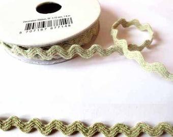 1.8 m x Ribbon cotton fancy 8mm Croquet linen/Green