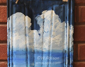 Seascape, Original Painting, Ocean, Birds, Clouds, Beach House, Beach, Sea, Home Decor, Garden, Patio, Porch, Outdoor Art, Winjimir, Gift
