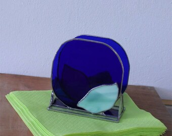 Blue glass Napkin Holder