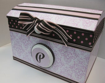 Nursery Storage Chest / Pink Damask and Dark Brown Accents