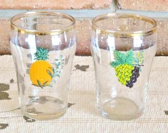 Retro drinking glasses, juice tumblers, fruit motif, vintage 1960s set of 2