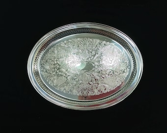 BEAUTIFUL Wm Rogers Silver Tray, Wm Rogers & Son 79G Silverplated Serving Tray, Silver Plated Oval Tray, Wedding Catering Tray, Bar Decor