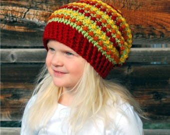 Autumn Leaves Slouchy, Fall Hat, Fall Slouchy, Crochet Hat, Child Slouchy, Autum Slouchy, Trendy Slouchy, Trendy Hat, Warm Hat, Warm Slouchy