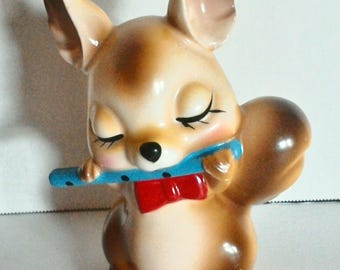 Brown Squirrel Figurine Playing Flute