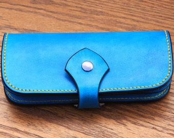 Handmade Leather wallet - Turquoise Leather