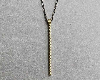Drill Bit Necklace - Men's Necklace - Hard Worker Necklace - Pendant Necklace - Masculine Necklace - Brass Jewelry by Modern Out