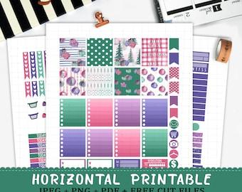 Horizontal Sweet Christmas printable planner stickers for Erin Condren Life Planner TM silhouette cut files watercolor winter sticker kit