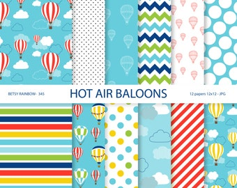Hot air balloons Digital Paper Pack, balloons digital papers, clouds, sky, hot air balloon, instant download - BR 345