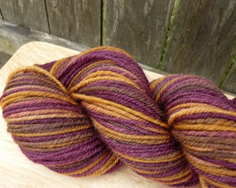 "Handspun Yarn Worsted Merino/Silk 200 yds.""Peanut Butter And Jelly"""