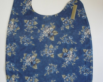 Flannel Adult Bib Clothes Protector in Blue Floral Print Side Neck Closure READY TO SHIP