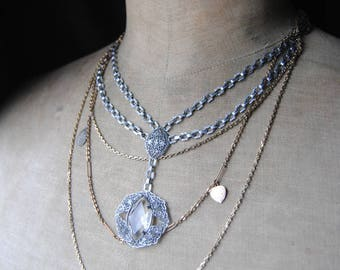 The Lord's Prayer--Vintage Art Deco Crystal Rhodium Link Pendant Lord's Prayer Heart Charm Holy Medal Moonstone Chain NECKLACE