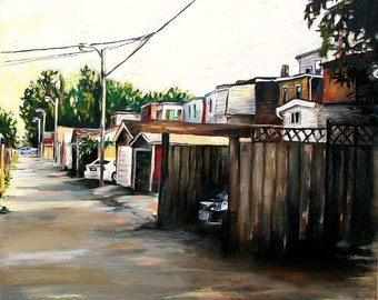 Alley Painting - City Painting - Toronto Oil Painting 24 X 24