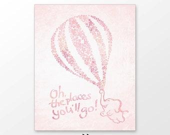 Hot air balloon nursery art,  pink stars Baby girl nursery printable digital image z11 000 p91