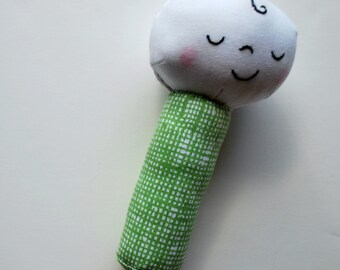 Baby on a Stick - Rattle in Green - Doll, Plush - Baby Toy - Teether - Soft - Baby Gift - Stocking Stuffer - Gender Neutral - Washable