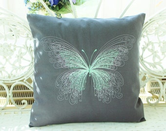 Pillow Cover Butterfly Embroidery